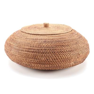 Woven Reed Lidded Basket