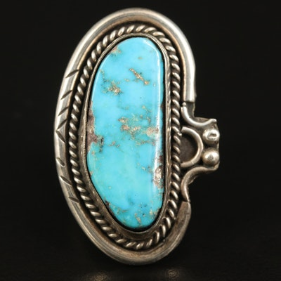 Southwestern Sterling Turquoise Pointer Ring