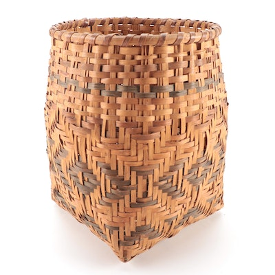 Plains Style Woven Birch Basket, Mid-Late 20th Century