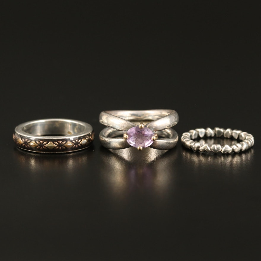 Pandora Sterling Rings with Heart Band and Amethyst Ring