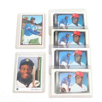 Ken Griffey MLB and Ken Griffey Jr. Rookie Baseball Trading Cards