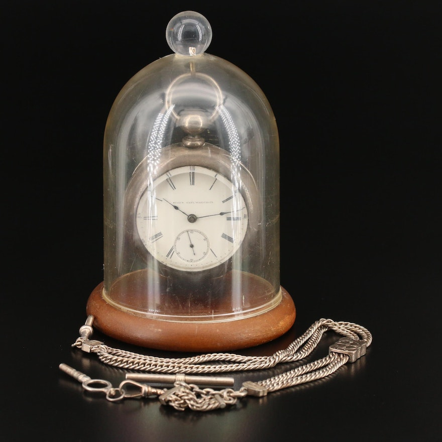 1887 Elgin Coin Silver Pocket Watch with Chain Fob and Display Stand