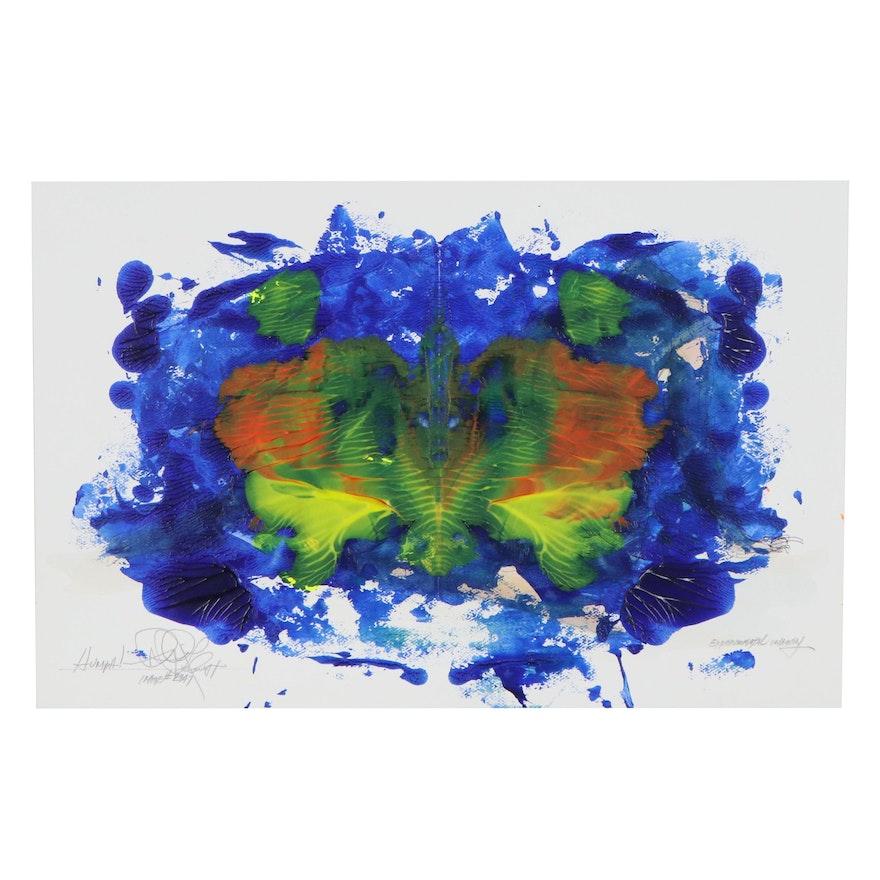 "Robert Lackney Experimental Imagery Acrylic Painting ""HUMPH!"""
