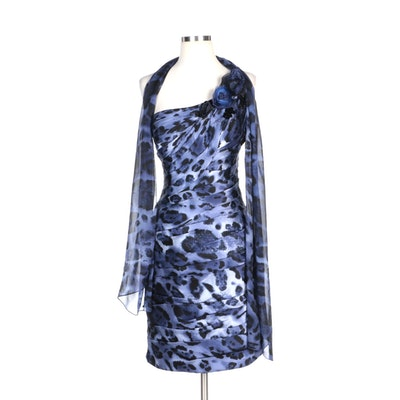 Alberto Makali Animal Print Blue Silk One-Shoulder Cocktail Dress with Wrap