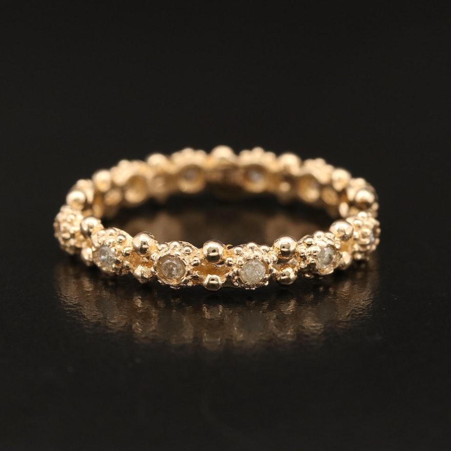 14K Diamond Open Shank Ring