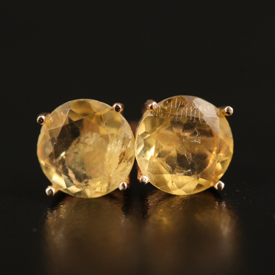 14K Citrine Stud Earrings