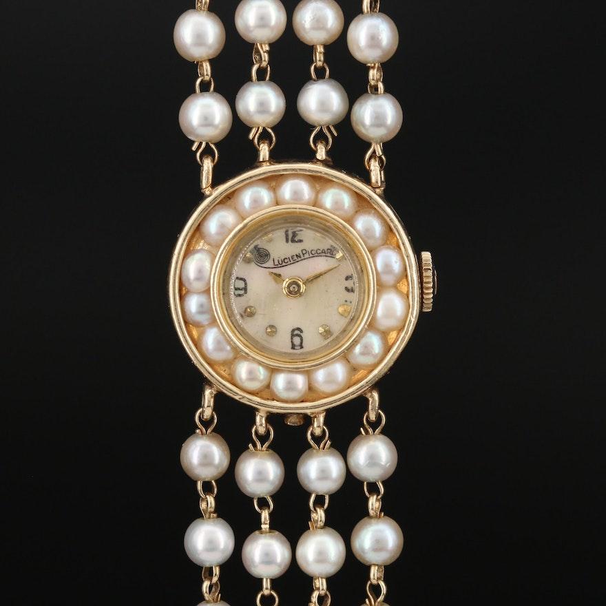 14K Lucien Piccard Cultured Pearl Stem Wind Wristwatch
