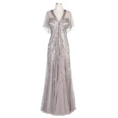 Alberto Makali Taupe and Metallic Sequined V-Neck Evening Gown