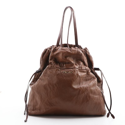 Prada Brown Leather Drawstring Tote Bag