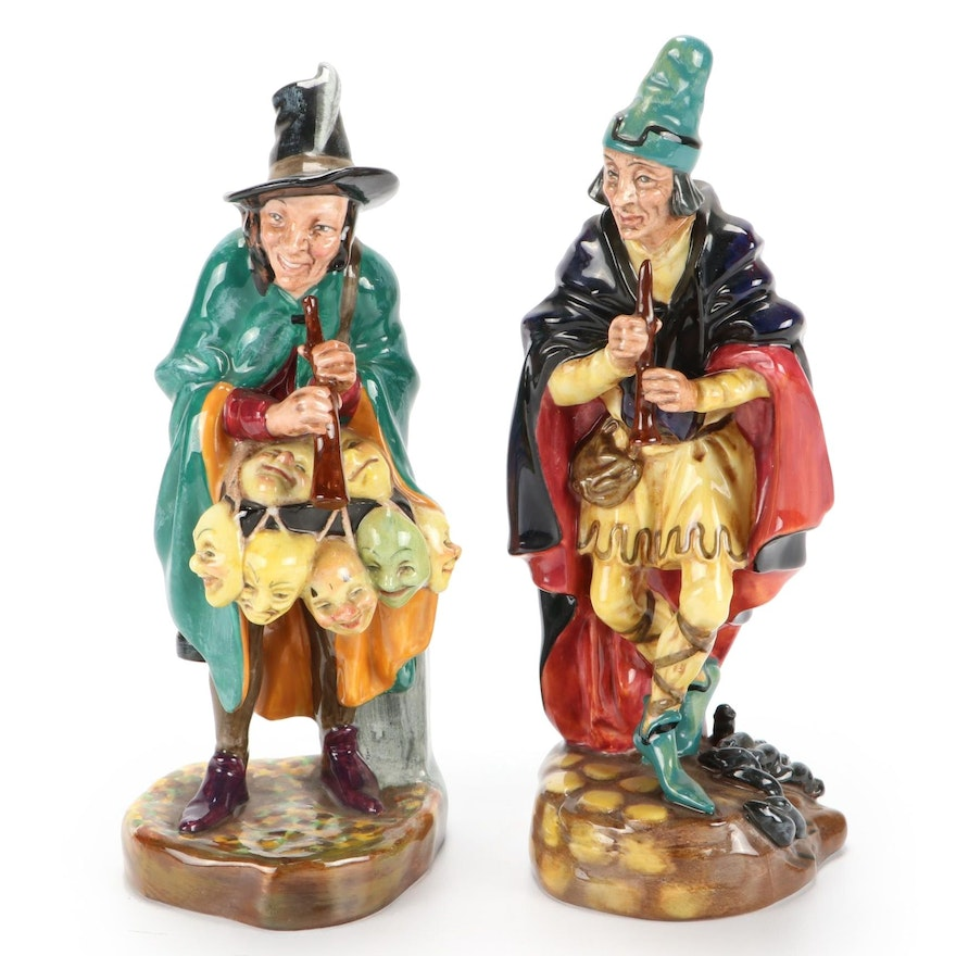 """Royal Doulton """"The Mask Seller"""" and """"The Pied Piper"""" Earthenware Figurines"""