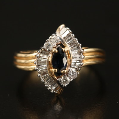 14K Sapphire and Diamond Marquise Ring