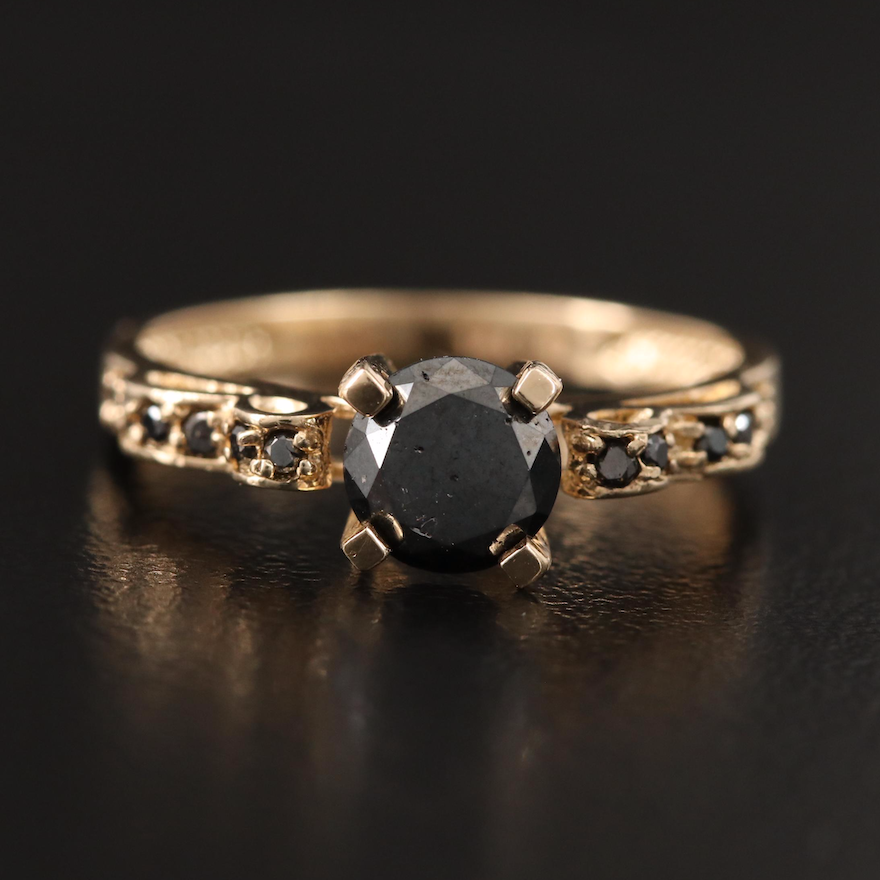 14K Diamond Ring with Stepped Shoulders