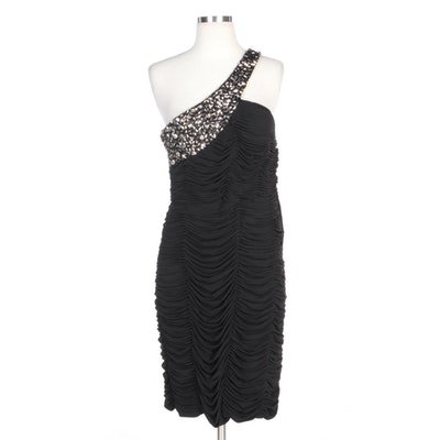 Alberto Makali One-Shoulder Black Ruched Cocktail Dress with Beaded Neckline