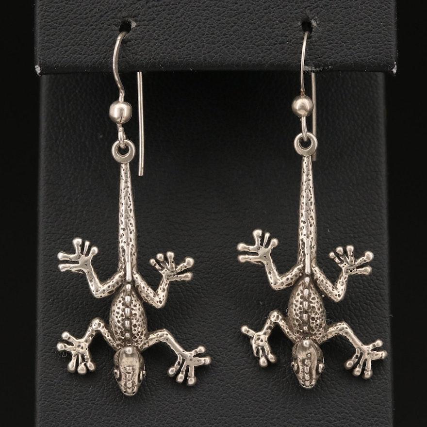 Sterling Silver Iguana Earrings