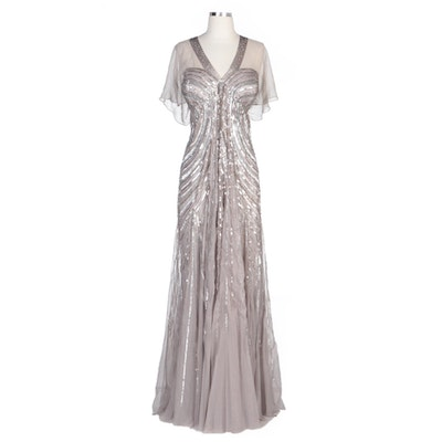 Alberto Makali Taupe V-Neck Sequined Gown