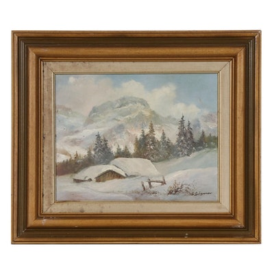 Gertrude Grigorov Winter Landscape Oil Painting, Mid to Late 20th century