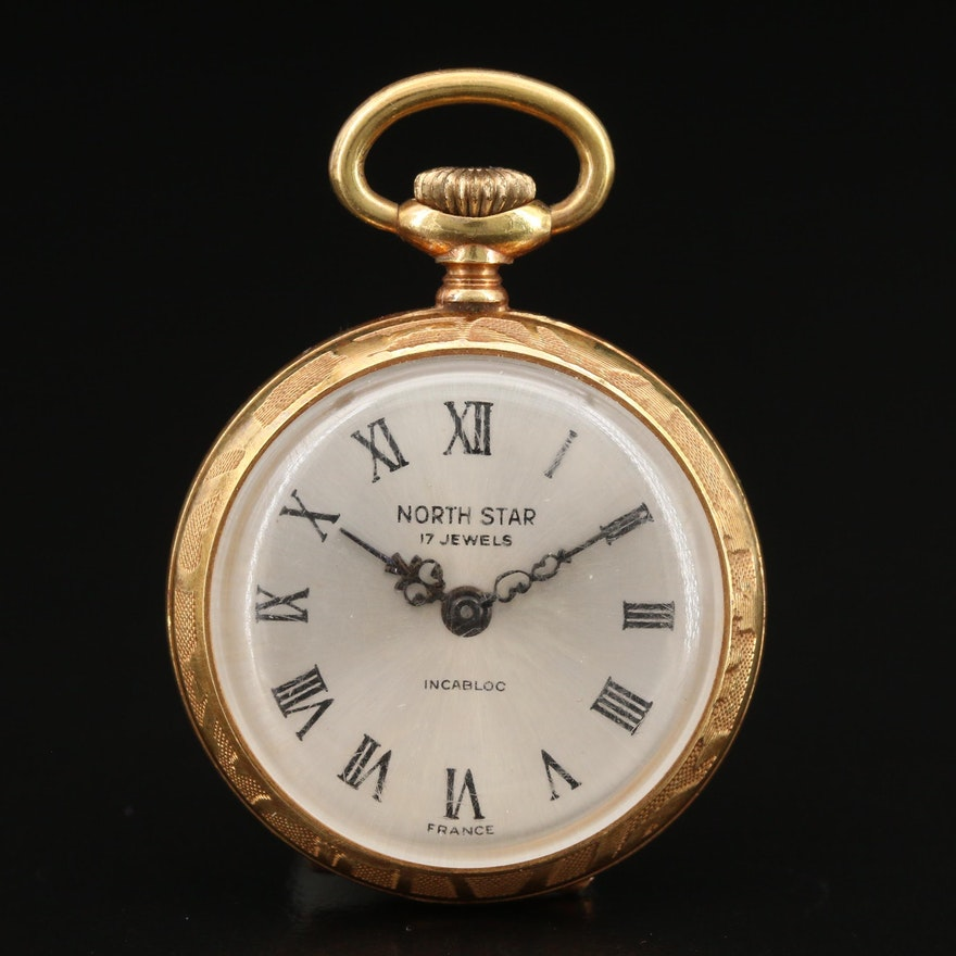 Vintage North Star Gold Plated Open Face Pocket Watch