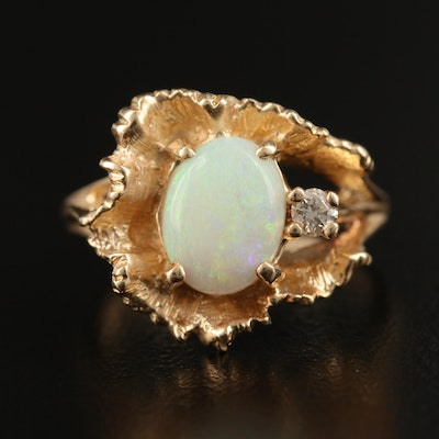 14K Opal and Diamond Freeform Ring