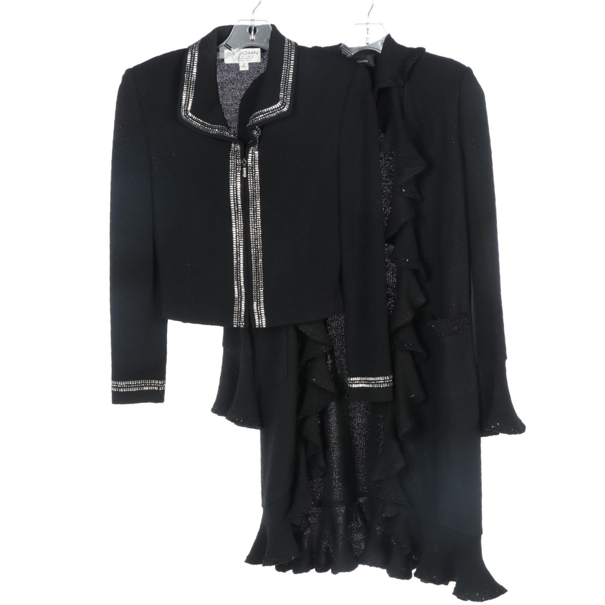 St. John Brand Black Embellished Jacket and Knit Ruffle Drape Open Front Sweater
