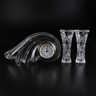 Mikasa Crystal Mantle Clock and Lenox Cut Crystal Vases