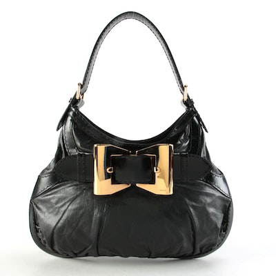 Gucci Queen Bow Buckle Black Leather Hobo Bag