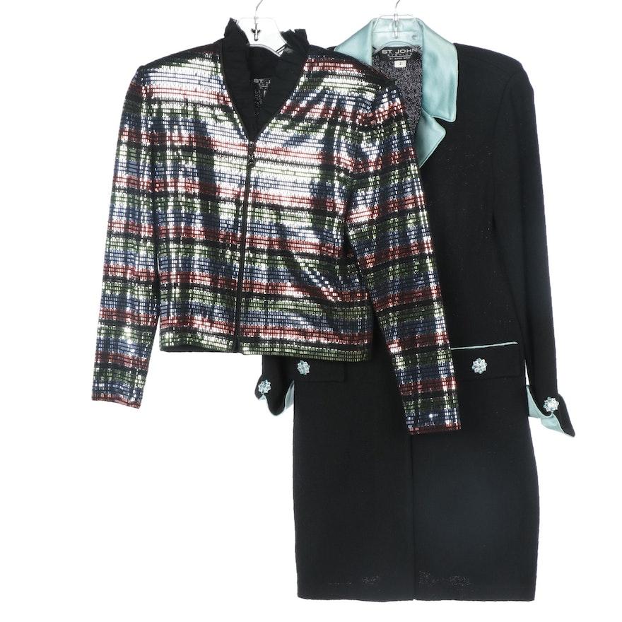 St. John Evening Embellished Jacket and Knit Coat with Satin Trim