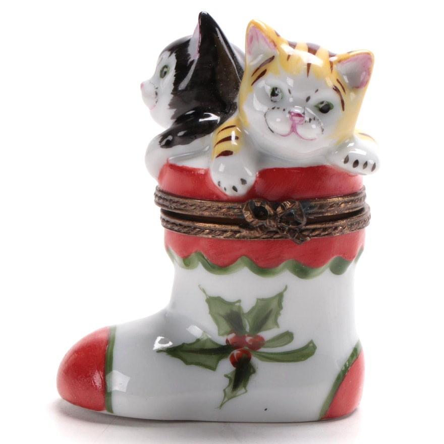 Chamart Hand-Painted Kittens in Christmas Stocking Limoges Box