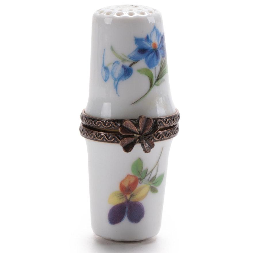 Limoges Hand-Painted Porcelain Thimble Box