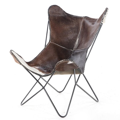 Cowhide Upholstered Butterfly Chair
