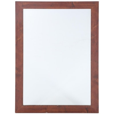 Contemporary Cherrywood-Grained Laminate and Beveled Glass Mirror