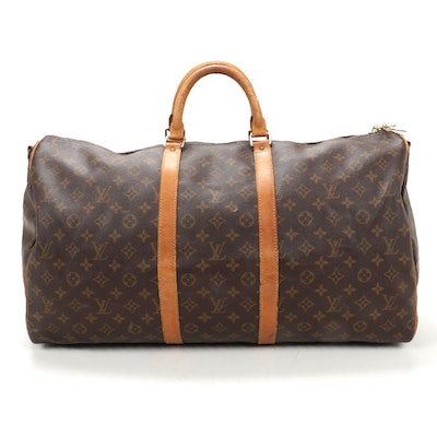 Louis Vuitton Keepall Bandoliere 55 Duffel in Monogram Canvas and Leather