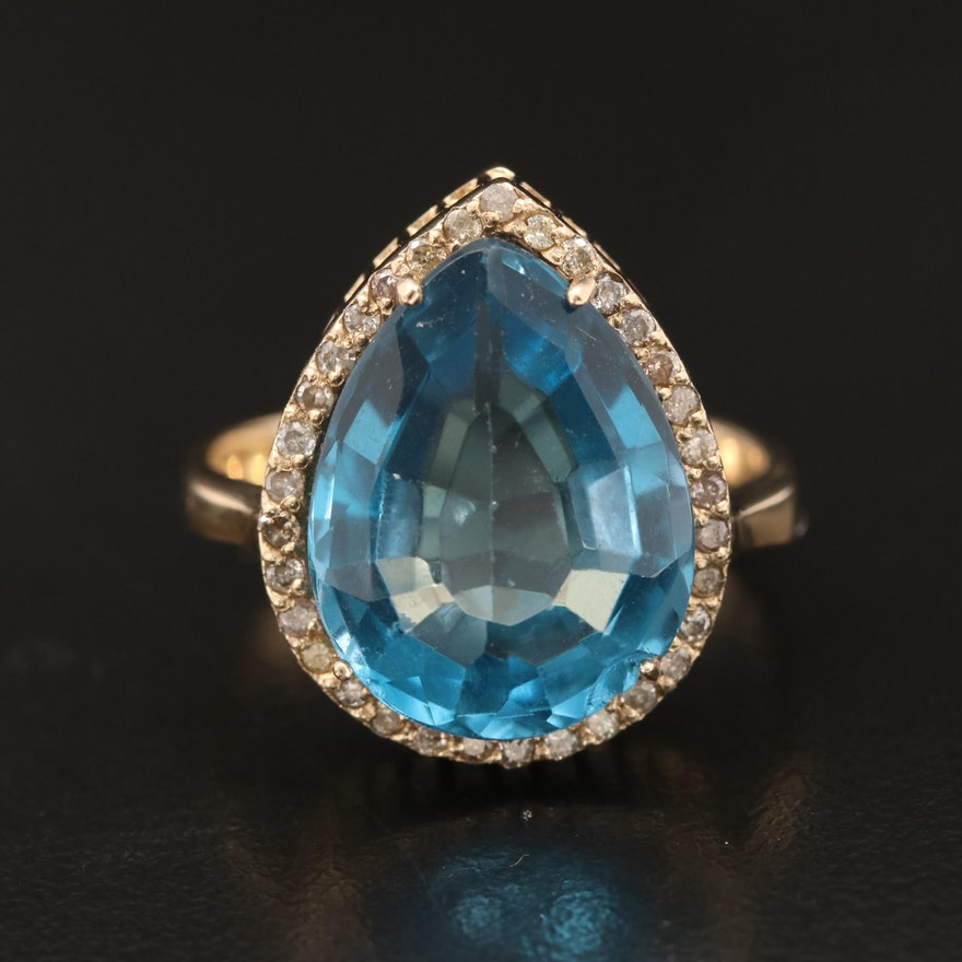 14K 9.20 CT Topaz and Diamond Ring
