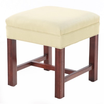 George III Style Mahogany Upholstered Footstool
