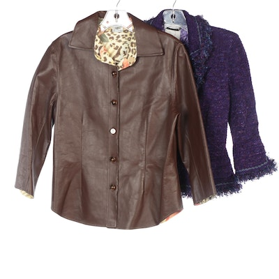 St. John Couture Purple Tweed and St. John Sport Brown Leather Jacket
