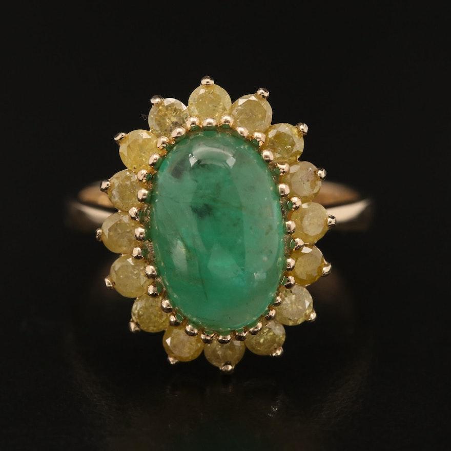 14K 2.95 CT Emerald and Diamond Halo Ring