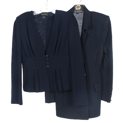 St. John Navy Blue Knit Double-Breasted and Peplum Jackets