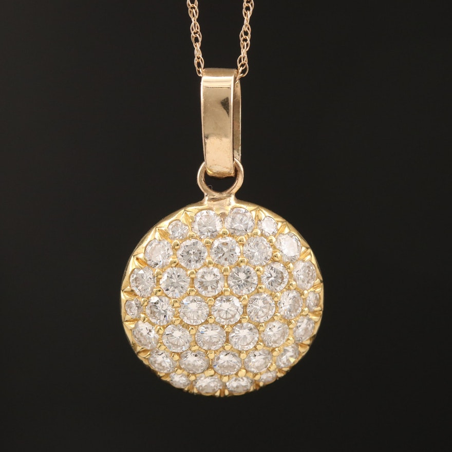 18K 1.75 Pavé Diamond Circle Pendant on 10K Rope Chain
