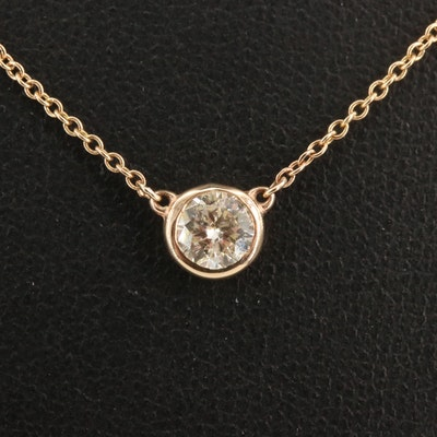 14K Bezel Set 0.50 CT Diamond Solitaire Necklace