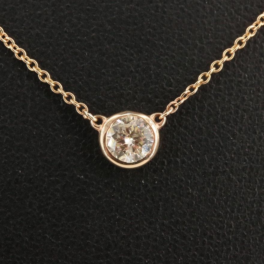 14K Bezel Set 0.50 CT Diamond Solitaire Necklace