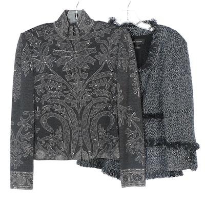 St. John Metallic Bouclé Tweed Jacket and St. John Evening Embellished Jacket