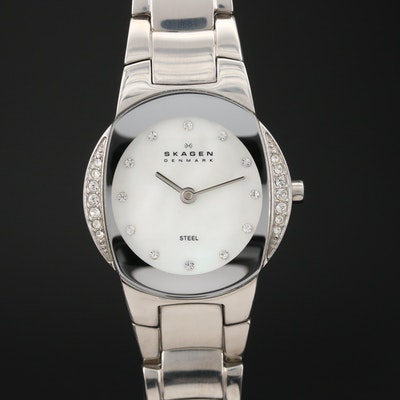 Skagen Mother of Pearl Dial with Glass Crystal Accents Wristwatch