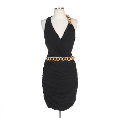 Alberto Makali Black Ruched Halter Dress with Chain Embellishment and Wrap