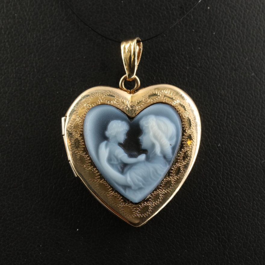 14K Carved Onyx Heart Locket with  Mother and Child