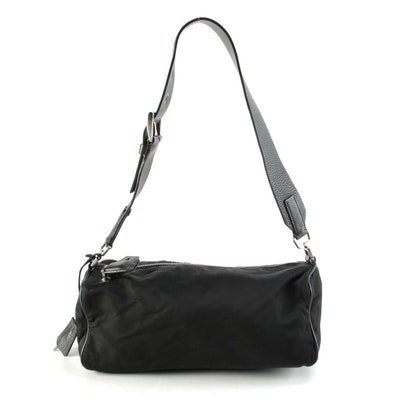 Prada Tessuto Nylon and Leather Buckle Strap Shoulder Bag in Black
