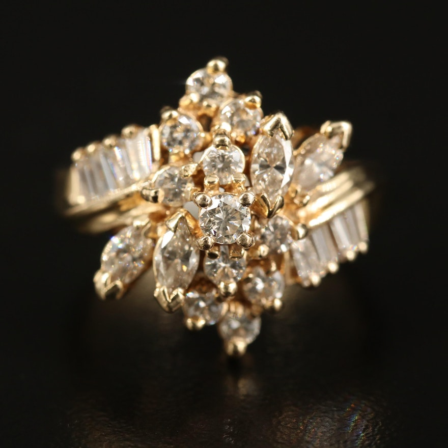 Tiered 14K 1.74 CTW Diamond Cluster Ring