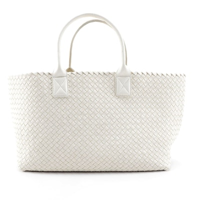Bottega Veneta Cabat Intrecciato White Nappa Leather Tote with Zip Pouch