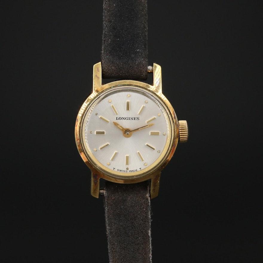 1968 Longines Ref. # 7702 Gold Plated Stem Wind Wristwatch