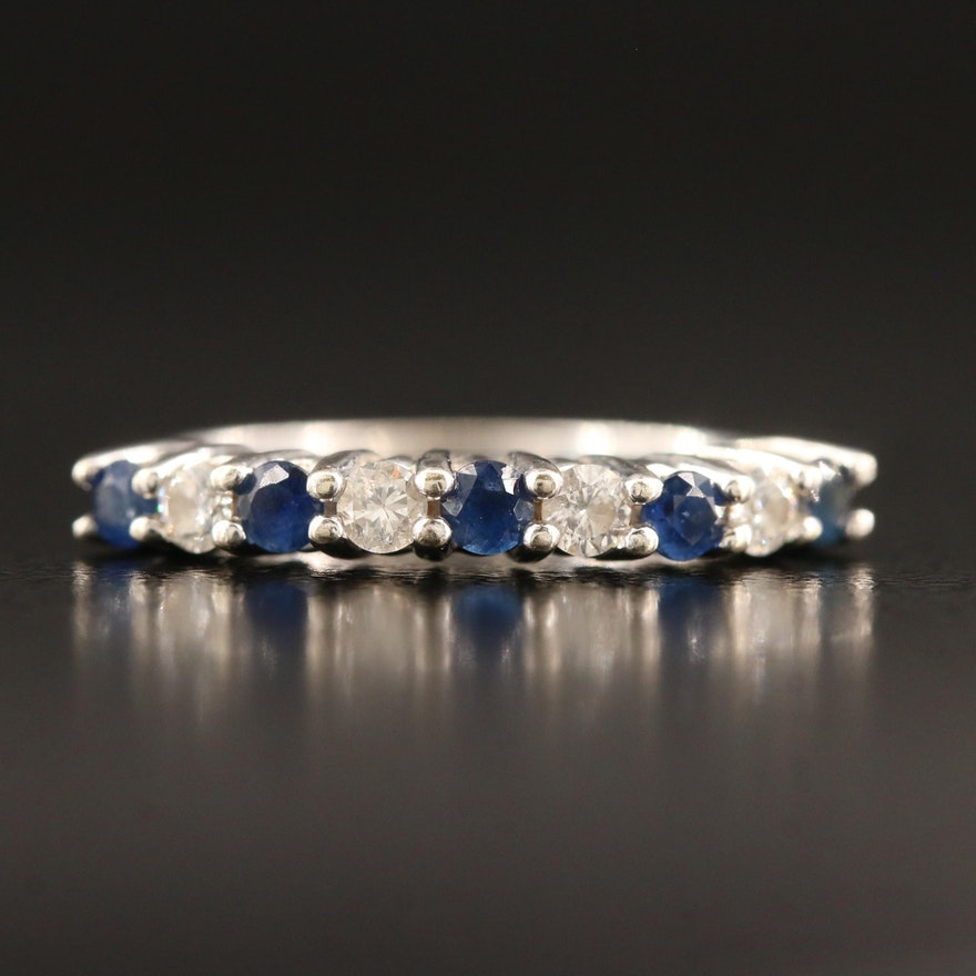 14K Alternating Sapphire and Diamond Band