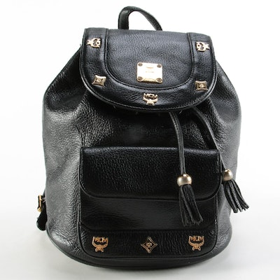 MCM Designed By Michael Cromer Black Grained Leather Backpack with Studded Logos