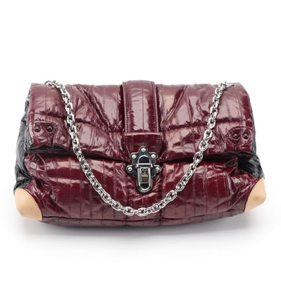 Louis Vuitton Cloud Clutch GM in Burgundy and Black Eel Skin